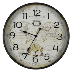 World Map Clock - Metal - 393711