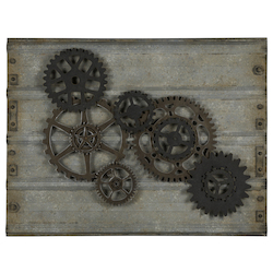 Gear Wall Hanging - Metal & Wood - 393725