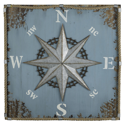Compass Wall Hanging - Wood; Burlap & Metal - 393745