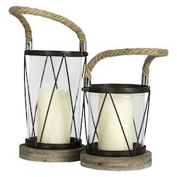 Hatteras Small Candle Holder - Wood; Metal; Glass & Rope - 393753
