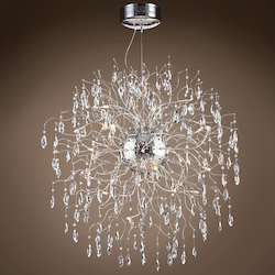 32 Light Polished Chrome Pendant with Clear Crystals  - 394027