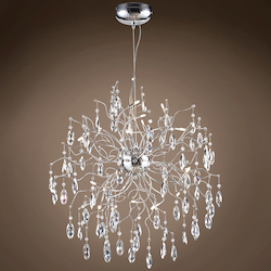 15 Light Polished Chrome Pendant with Clear Crystals - 394028