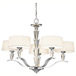Chrome Crystal Persuasion 5 Light 30In. Wide Chandelier With Etched Glass Shades