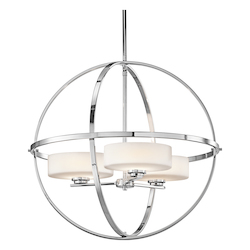 Kichler 42505Ch Chrome Olsay Single-Tier Globe-Style Chandelier With 3 Lights