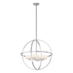 Kichler 42506Ch Chrome Olsay Single-Tier Globe-Style Chandelier With 4 Lights