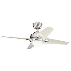 Brushed Stainless Steel Sunburst Ii 42 Blade Span 4 Blade Indoor Ceiling Fan