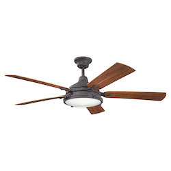 Distressed Black Hatteras Bay Patio 60 Inch 5 Blade Ceiling Fan With Light Kit