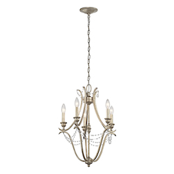 Sterling Gold Abellona Mini Chandelier With 5 Lights - 18 Inches Wide