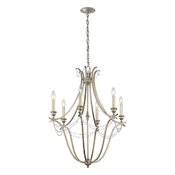 Sterling Gold Abellona Chandelier With 6 Lights - 25 Inches Wide