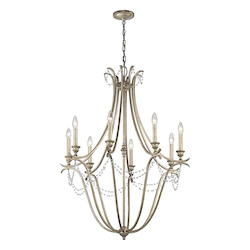 Sterling Gold Abellona Chandelier With 8 Lights - 30 Inches Wide