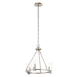 Classic Pewter Signata 3 Light 18In. Wide Chandelier With Glass Shades