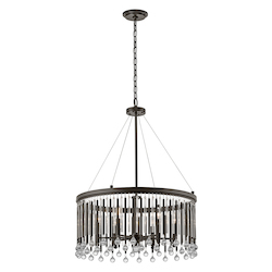 Espresso Piper 6 Light 24In. Wide Chandelier With Metal And Crystal Shade