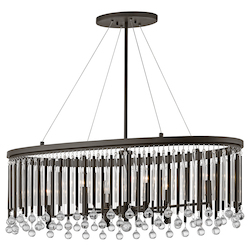 Espresso Piper 6 Light 36In. Long Chandelier With Metal And Crystal Shade