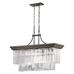 Olde Bronze Emile 12 Light 37In. Long Chandelier With Cascading Glass Shade