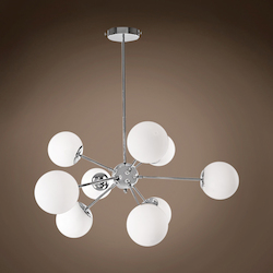 9 Light Chrome Pendant with White Glass Globes  - 395370