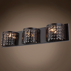 3 Light Bronze Wall Sconce with Steel Shade and Crystal Accents  - 396463