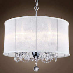 6 Light Polished Chrome Pendant with White Shade and Clear Crystals  - 396466