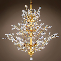 10 Light Chandelier in Gold Finish with European Crystals - 396468