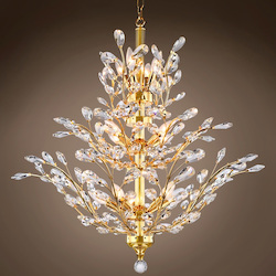 13 Light Chandelier in Gold Finish with European Crystals - 396469