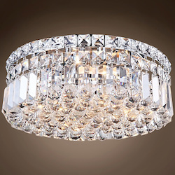 4 Light Chrome Flush Mount with Clear Crystals  - 396472