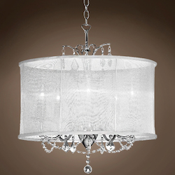 Five Light Chrome Drum Shade Chandelier