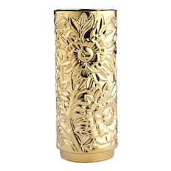 Gold Carnation 15 Inch Tall Ceramic Vase