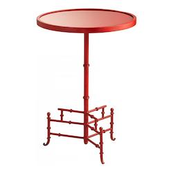 Chinese Red Liora 16.25 Inch Diameter Iron and Glass Side Table