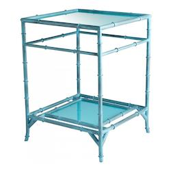 Blue Akira 18.25 Inch Long Iron and Glass Side Table