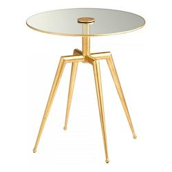Gold Leaf Talon 19 Inch Diameter Iron and Glass Side Table