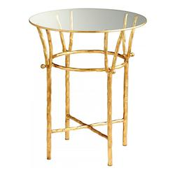 Gold Leaf Argent 20 Inch Diameter Iron and Glass Side Table