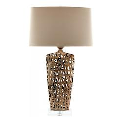 Gold Elethea 1 Light Accent Table Lamp with Beige Shade