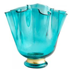 Turquoise Blue Mervine 10.75 Inch Tall Glass and Iron Vase