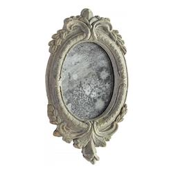 Antiqued Ash 14 x 8.25 Addie Oval Other Natural Materials Frame Mirror