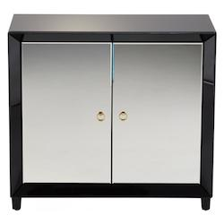 Clear Omar 35.75 Inch Tall Wood and Mirrored Glass Cabinet