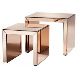 Copper Abigail 20 Inch Long Wood and Mirrored Glass Nesting Table