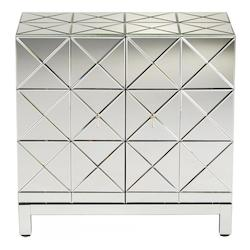 Clear Adonis 34.25 Inch Tall Wood and Mirrored Glass Cabinet