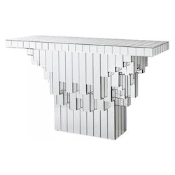 Clear Cubic 49.75 Inch Long Wood and Mirrored Glass Console Table