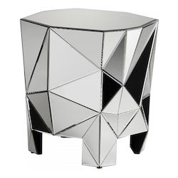 Clear Alessandro 25 Inch Long Wood and Mirrored Glass Side Table