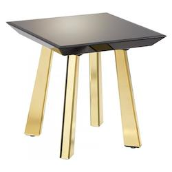 Black And Gold Abbott 21.75 Inch Long Wood and Mirrored Glass Side Table