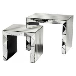 Clear Prism 20 Inch Long Wood and Mirrored Glass Nesting Table