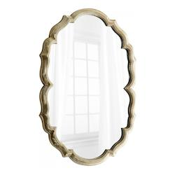 Silver 39.75 x 29 Banning Oval Iron and Wood Mirror