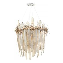 Chrome And Copper Thetis 9 Light 1 Tier Shaded Chandelier