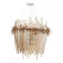 Chrome And Copper Thetis 12 Light 1 Tier Shaded Chandelier