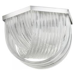 Chrome Galicia 3 Light Flush Mount Ceiling Fixture with Glass Shade