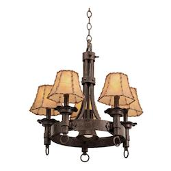 Five Light Copper Claret No Shade Glass Up Chandelier