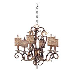 Six Light Tuscan Gold No Shade Glass Up Chandelier