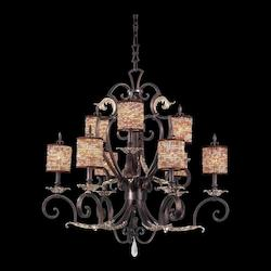 Nine Light Sienna Bronze No Shade Glass Drum Shade Chandelier