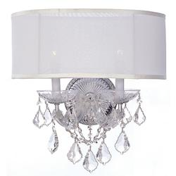 Polished Chrome / Hand Polished Brentwood 2 Light Crystal Wall Sconce