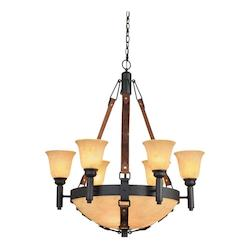 Nine Light Antique Copper Ecru And Smoke Taupe Glass Up Chandelier