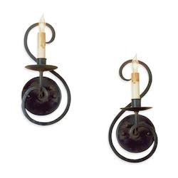 Old Iron Flourish Wall Sconce Pair with Customizable Shades